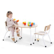 Child Chairs - Metal Wood - Natural White - 2 Pcs