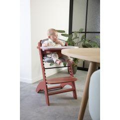 Lambda 3 Baby High Chair + Eating Tray - Wood - Red Brick