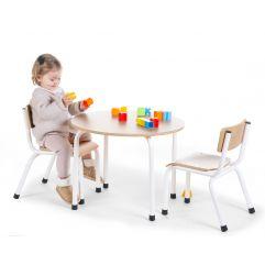 Kinderstoeltjes - Metaal Hout - Naturel Wit - 2 Stuks