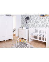 Quadro White - Kids Wardrobe - 3 Doors + 2 Drawers