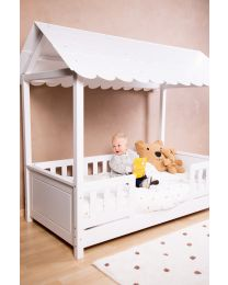 Rooftop Bed Frame House + 2 Bedrails - 70x140 Cm - Wood - White