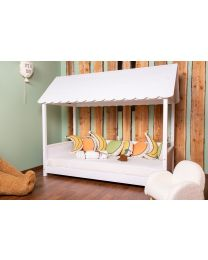 Rooftop Bed Frame House - 90x200 Cm - Wood - White