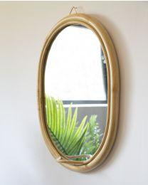 Ovale Spiegel Met Haakje - Rotan - 32x35 Cm