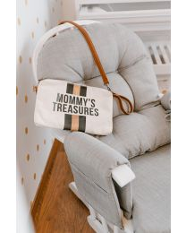 Gliding Chair Round With Footrest - Wood Canvas - Grey