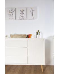 Schilderij - Zebra + Goud - 30x40 Cm
