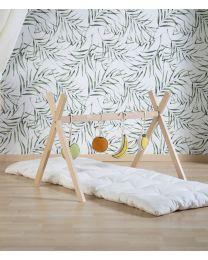 Gesteppte Lange Spielmatte - 160x60 cm - Jersey Polystar - Altweiss