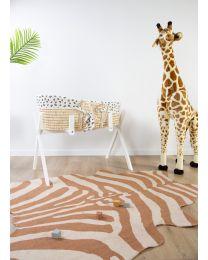 Moses Basket + Handles + Mattress - Soft Corn Husk - Natural + Jersey Cover Leopard