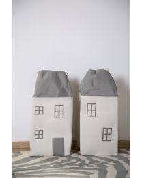 Speelgoedzak Huis - Polyester - Grijs Ecru
