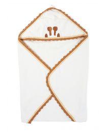 Cape De Bain + Gant - 80x80 Cm - Jersey - Crochet Ecru