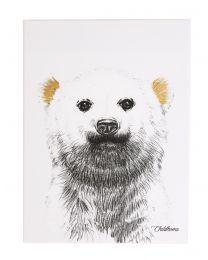 Schilderij - Ijsbeer + Goud - 30x40 Cm