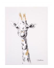 Schilderij - Giraf + Goud - 30x40 Cm