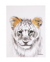 Schilderij - Leeuw + Goud - 30x40 Cm