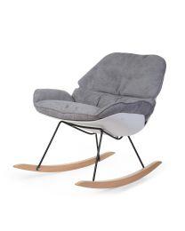 Rocking Lounge Chair - White Grey