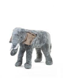 Peluche Debout Eléphant - 70x40x60 Cm - Gris