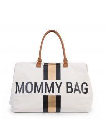 Mommy Bag Sac A Langer - Ecru Rayures Noir/Or