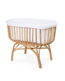 Rattan Cradle - 90x50x70 Cm + Jersey Cover Off White - Mattress - 77x42x4 Cm