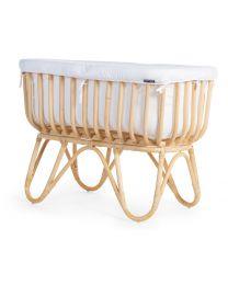 Rattan Cradle Rectangular - 90x50x70 Cm+ Jersey Cover Offwhite - Mattress - 81x42x5 Cm