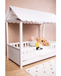 Huis Bed Met Dak + 2 Bedrails - 70x140 Cm - Hout - Wit