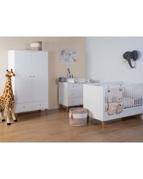 Lalande White - Kids Wardrobe - 2 Doors + 1 Drawer