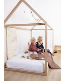 Bed Frame House - 90x200 Cm - Wood - Natural