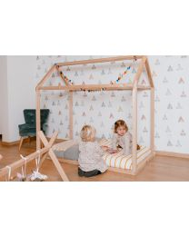 Bed Frame House - 70x140 Cm - Wood - Natural