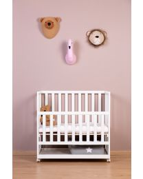 Bedside Crib + Wheels - 50x90 Cm - Wood - White