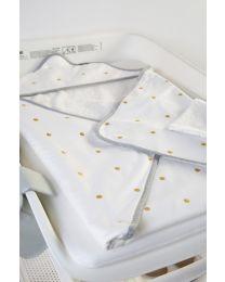 Bath Cape + Face Cloth - 80x80 Cm - Jersey - Gold Dots