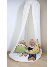 Hanging Bed Canopy Tent + playmat - 120x120x230 Cm - Jersey - Off White