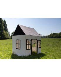 Großes Spielhaus - 125x95x145 Cm - Baumwolle Polyester - Schwarz Weiß
