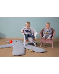 Mimo Kid Wicker Chair + Cushion - White