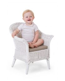 Mimo Kid Wicker Chair + Cushion - White