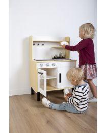 Spielküche Und Zubehör - Holz - Weiß Naturell