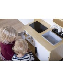 Play Kitchen & Accessories - Wood - White Natural