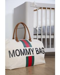 Mommy Bag Nursery Bag - Off White Stripes Green/Red