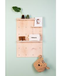 Pegboard Wall Shelf - 92x65x15 Cm - Wood - Natural