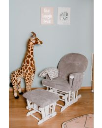 Gliding Chair Round With Footrest - Wood Velvet - Grey Ribbed