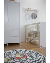 Quadro White - Baby Bed - 60x120 Cm + Slats & Rails 90x200 Cm
