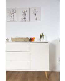 Retro Rio White - Chest - 3 Drawers + 1 Door + Changing Unit