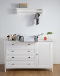 Hampton White - Chest - 4 Drawers + 1 Door + Changing Unit