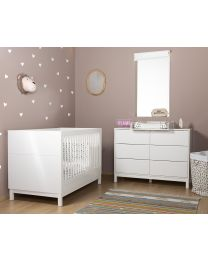 Jota White - Commode - 6 Tiroirs + Plan A Langer