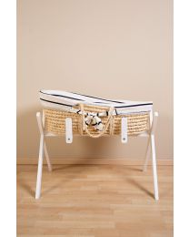 Moses Basket + Handles + Mattress - Soft Corn Husk - Natural + Jersey Cover Marin