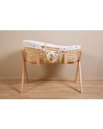 Moses Basket + Handles + Mattress - Soft Corn Husk - Natural + Jersey Cover Hearts