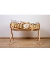 Moses Mand + Handvaten + Matras - Zacht Maïsschil + Raffia - Naturel + Jersey Bekleding Gold Dots