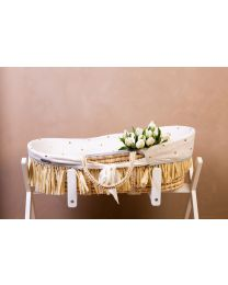 Moses Basket + Handles + Mattress - Soft Corn Husk + Raffia  - Natural + Jersey Cover Gold Dots