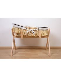 Moses Basket + Handles + Mattress - Soft Corn Husk + Raffia  - Natural + Jersey Cover Marin