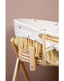 Moses Basket + Handles + Mattress - Soft Corn Husk + Raffia  - Natural +  Jersey Cover Hearts