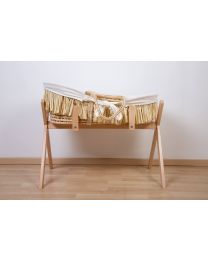Moses Basket + Handles + Mattress - Soft Corn Husk + Raffia  - Natural + Jersey Cover Off White