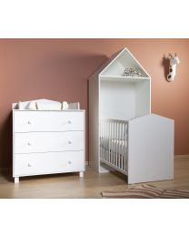 Cabin White Set - Bett + Kommode + Schrank