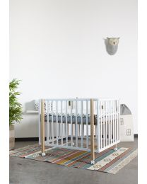 Playpen 922 + Wheels - 75x95 Cm - Wood - Natural White