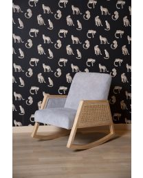 Canné Wood - Kids Rocking Chair - Grey Natural